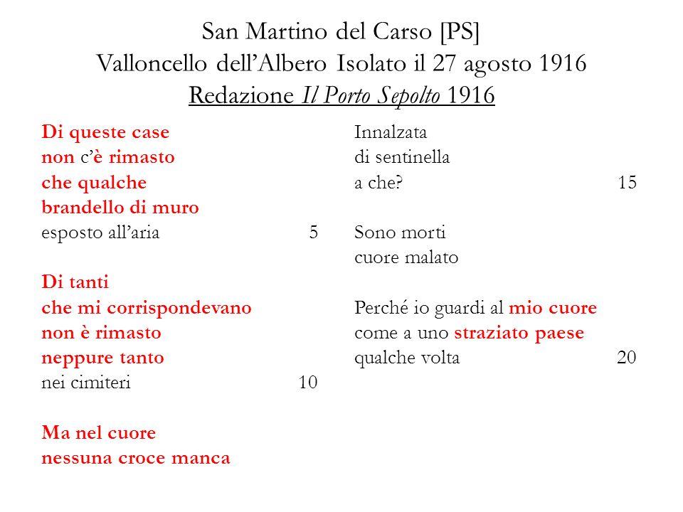 San Martino del Carso [PS] Valloncello dell'Albero Isolato il 27 agosto 1916 Redazione Il Porto Sepolto 1916